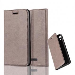 Cadorabo Hülle für WIKO LENNY 4 in KAFFEE BRAUN - Handyhülle mit Magnetverschluss, Standfunktion und Kartenfach - Case Cover Schutzhülle Etui Tasche Book Klapp Style