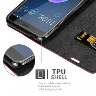 Cadorabo Hülle für HTC Desire 12 in APFEL ROT - Handyhülle mit Magnetverschluss, Standfunktion und Kartenfach - Case Cover Schutzhülle Etui Tasche Book Klapp Style - Vorschau 2