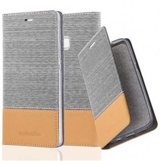 Cadorabo Hülle für Huawei P9 LITE in HELL GRAU BRAUN - Handyhülle mit Magnetverschluss, Standfunktion und Kartenfach - Case Cover Schutzhülle Etui Tasche Book Klapp Style