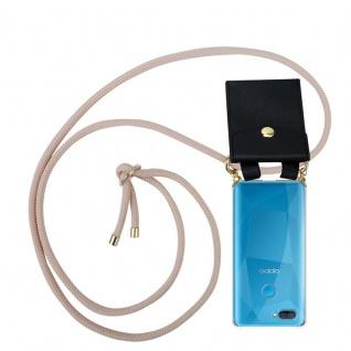 Cadorabo Handy Kette für Oppo A12 in PERLIG ROSÉGOLD Silikon Necklace Umhänge Hülle mit Gold Ringen, Kordel Band Schnur und abnehmbarem Etui Schutzhülle