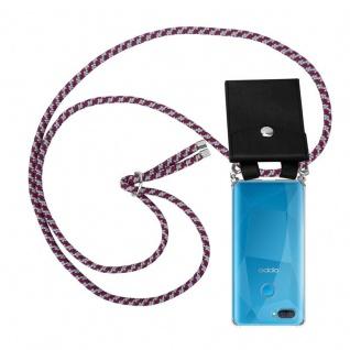Cadorabo Handy Kette für Oppo A12 in ROT WEISS Silikon Necklace Umhänge Hülle mit Silber Ringen, Kordel Band Schnur und abnehmbarem Etui Schutzhülle