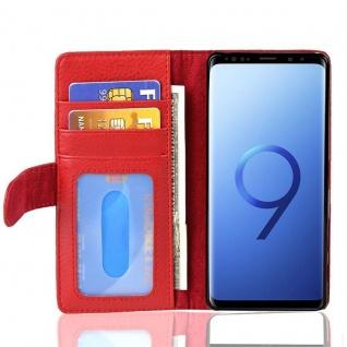 Cadorabo Hülle für Samsung Galaxy S9 PLUS in INFERNO ROT ? Handyhülle mit Magnetverschluss und 3 Kartenfächern ? Case Cover Schutzhülle Etui Tasche Book Klapp Style