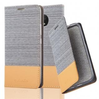 Cadorabo Hülle für Motorola MOTO E4 PLUS in HELL GRAU BRAUN Handyhülle mit Magnetverschluss, Standfunktion und Kartenfach Case Cover Schutzhülle Etui Tasche Book Klapp Style