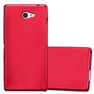 Cadorabo Hülle für Sony Xperia M2 / M2 Aqua in METALLIC ROT - Handyhülle aus flexiblem TPU Silikon - Silikonhülle Schutzhülle Ultra Slim Soft Back Cover Case Bumper