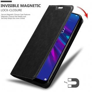Cadorabo Hülle für Huawei Y6 2019 in NACHT SCHWARZ - Handyhülle mit Magnetverschluss, Standfunktion und Kartenfach - Case Cover Schutzhülle Etui Tasche Book Klapp Style - Vorschau 3
