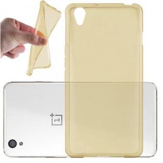 Cadorabo Hülle für OnePlus One X - Hülle in TRANSPARENT GOLD ? Handyhülle aus TPU Silikon im Ultra Slim 'AIR' Design - Ultra Slim Soft Backcover Case Bumper
