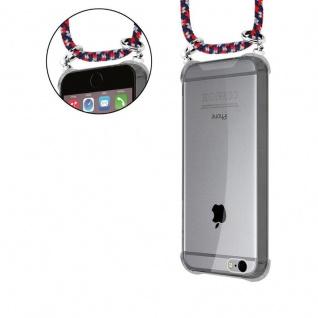 Cadorabo Handy Kette für Apple iPhone 6 PLUS / iPhone 6S PLUS in ROT BLAU WEISS - Silikon Necklace Umhänge Hülle mit Silber Ringen, Kordel Band Schnur und abnehmbarem Etui - Schutzhülle - Vorschau 5