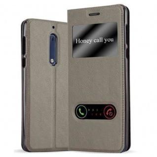 Cadorabo Hülle für Nokia 5 2017 in STEIN BRAUN - Handyhülle mit Magnetverschluss, Standfunktion und 2 Sichtfenstern - Case Cover Schutzhülle Etui Tasche Book Klapp Style