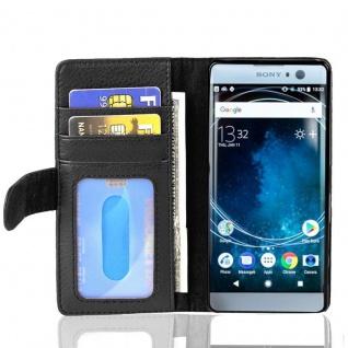 Cadorabo Hülle für Sony Xperia XA2 in OXID SCHWARZ ? Handyhülle mit Magnetverschluss und 3 Kartenfächern ? Case Cover Schutzhülle Etui Tasche Book Klapp Style