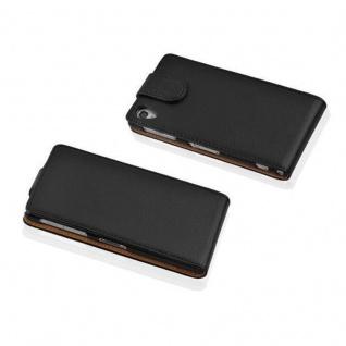 Cadorabo Hülle für Sony Xperia Z1 in OXID SCHWARZ - Handyhülle im Flip Design aus strukturiertem Kunstleder - Case Cover Schutzhülle Etui Tasche Book Klapp Style - Vorschau 2