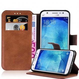 Cadorabo Hülle für Samsung Galaxy J5 2015 - Hülle in MATT BRAUN ? Handyhülle mit Standfunktion und Kartenfach im Retro Design - Case Cover Schutzhülle Etui Tasche Book Klapp Style