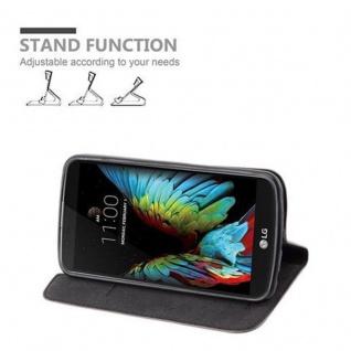 Cadorabo Hülle für LG K10 2016 in KAFFEE BRAUN - Handyhülle mit Magnetverschluss, Standfunktion und Kartenfach - Case Cover Schutzhülle Etui Tasche Book Klapp Style - Vorschau 3