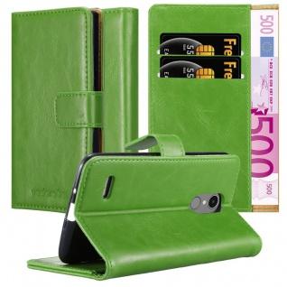 Cadorabo Hülle für LG K8 2017 in GRAS GRÜN Handyhülle mit Magnetverschluss, Standfunktion und Kartenfach Case Cover Schutzhülle Etui Tasche Book Klapp Style