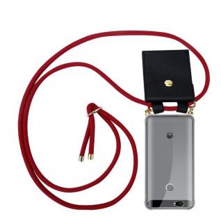 Cadorabo Handy Kette für Huawei NOVA in RUBIN ROT - Silikon Necklace Umhänge Hülle mit Gold Ringen, Kordel Band Schnur und abnehmbarem Etui ? Schutzhülle