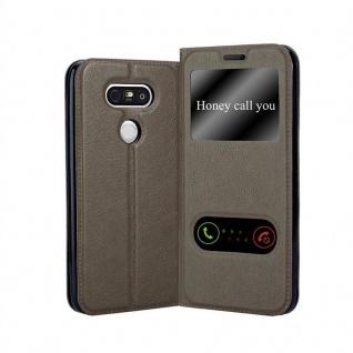 Cadorabo Hülle für LG G5 in STEIN BRAUN Handyhülle mit Magnetverschluss, Standfunktion und 2 Sichtfenstern Case Cover Schutzhülle Etui Tasche Book Klapp Style