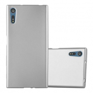 Cadorabo Hülle für Sony Xperia XZ / XZs - Hülle in METALLIC SILBER ? Handyhülle aus TPU Silikon im Matt Metallic Design - Ultra Slim Soft Backcover Case Bumper
