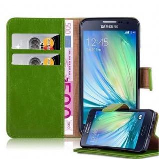 Cadorabo Hülle für Samsung Galaxy A3 2015 in GRAS GRÜN - Handyhülle mit Magnetverschluss, Standfunktion und Kartenfach - Case Cover Schutzhülle Etui Tasche Book Klapp Style