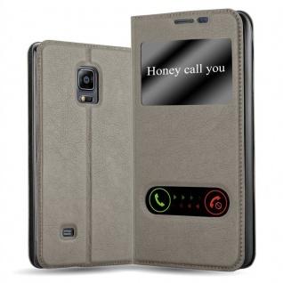 Cadorabo Hülle für Samsung Galaxy NOTE EDGE in STEIN BRAUN - Handyhülle mit Magnetverschluss, Standfunktion und 2 Sichtfenstern - Case Cover Schutzhülle Etui Tasche Book Klapp Style