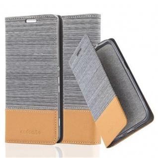 Cadorabo Hülle für Sony Xperia M5 in HELL GRAU BRAUN - Handyhülle mit Magnetverschluss, Standfunktion und Kartenfach - Case Cover Schutzhülle Etui Tasche Book Klapp Style