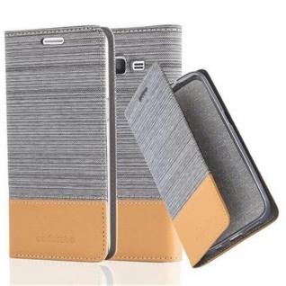 Cadorabo Hülle für Samsung Galaxy GRAND PRIME in HELL GRAU BRAUN - Handyhülle mit Magnetverschluss, Standfunktion und Kartenfach - Case Cover Schutzhülle Etui Tasche Book Klapp Style