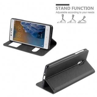 Cadorabo Hülle für Nokia 3 2017 in KOMETEN SCHWARZ - Handyhülle mit Magnetverschluss, Standfunktion und 2 Sichtfenstern - Case Cover Schutzhülle Etui Tasche Book Klapp Style - Vorschau 5