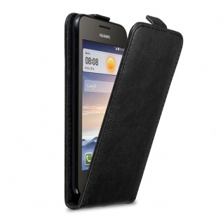 Cadorabo Hülle für Huawei Y330 in NACHT SCHWARZ Handyhülle im Flip Design mit Magnetverschluss Case Cover Schutzhülle Etui Tasche Book Klapp Style