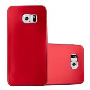 Cadorabo Hülle für Samsung Galaxy S6 EDGE PLUS - Hülle in METALLIC ROT ? Handyhülle aus TPU Silikon im Matt Metallic Design - Ultra Slim Soft Backcover Case Bumper
