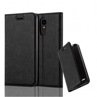 Cadorabo Hülle für LG K4 2017 in NACHT SCHWARZ - Handyhülle mit Magnetverschluss, Standfunktion und Kartenfach - Case Cover Schutzhülle Etui Tasche Book Klapp Style