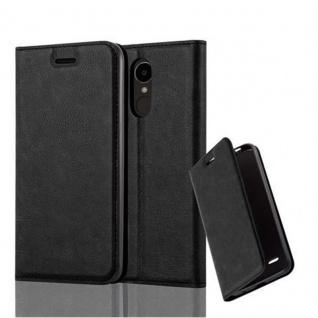Cadorabo Hülle für LG K4 2017 in NACHT SCHWARZ Handyhülle mit Magnetverschluss, Standfunktion und Kartenfach Case Cover Schutzhülle Etui Tasche Book Klapp Style