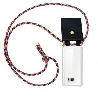 Cadorabo Handy Kette für Samsung Galaxy NOTE 5 in ORANGE BLAU WEISS - Silikon Necklace Umhänge Hülle mit Gold Ringen, Kordel Band Schnur und abnehmbarem Etui ? Schutzhülle