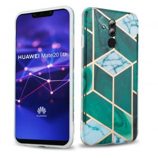 Cadorabo Hülle für Huawei MATE 20 LITE Hülle in Dunkelgrün weiß gold Marmor No.6 Handyhülle aus TPU Silikon mit Muster Mosaik Silikonhülle Schutzhülle Ultra Slim Back Cover Case Bumper