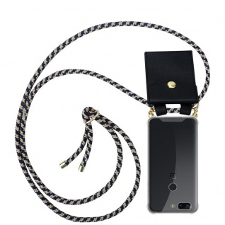 Cadorabo Handy Kette für OnePlus 5T in DUNKELBLAU GELB - Silikon Necklace Umhänge Hülle mit Gold Ringen, Kordel Band Schnur und abnehmbarem Etui ? Schutzhülle