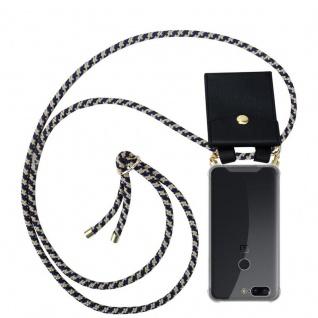 Cadorabo Handy Kette für OnePlus 5T in DUNKELBLAU GELB Silikon Necklace Umhänge Hülle mit Gold Ringen, Kordel Band Schnur und abnehmbarem Etui Schutzhülle