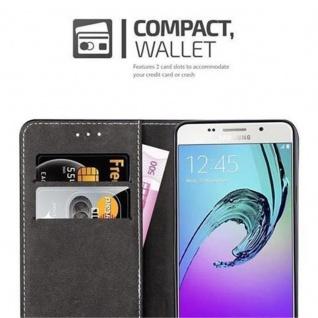 Cadorabo Hülle für Samsung Galaxy A3 2016 in SCHWARZ BRAUN ? Handyhülle mit Magnetverschluss, Standfunktion und Kartenfach ? Case Cover Schutzhülle Etui Tasche Book Klapp Style - Vorschau 3