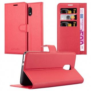 Cadorabo Hülle für WIKO LENNY 5 in KARMIN ROT - Handyhülle mit Magnetverschluss, Standfunktion und Kartenfach - Case Cover Schutzhülle Etui Tasche Book Klapp Style