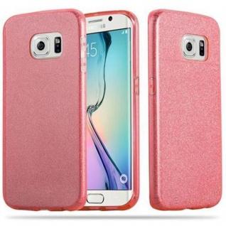Cadorabo Hülle für Samsung Galaxy S6 EDGE - Hülle in STERNENSTAUB PINK - TPU Silikon und Hardcase Handyhülle im Glitzer Design - Hard Case TPU Silikon Schutzhülle