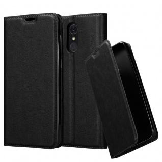 Cadorabo Hülle für LG Q7+ (Plus-Version) in NACHT SCHWARZ - Handyhülle mit Magnetverschluss, Standfunktion und Kartenfach - Case Cover Schutzhülle Etui Tasche Book Klapp Style