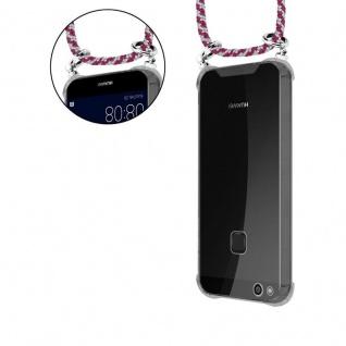 Cadorabo Handy Kette für Huawei P10 in ROT WEISS - Silikon Necklace Umhänge Hülle mit Silber Ringen, Kordel Band Schnur und abnehmbarem Etui - Schutzhülle - Vorschau 5