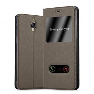 Cadorabo Hülle für OnePlus 3 / 3T in STEIN BRAUN ? Handyhülle mit Magnetverschluss, Standfunktion und 2 Sichtfenstern ? Case Cover Schutzhülle Etui Tasche Book Klapp Style