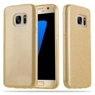Cadorabo Hülle für Samsung Galaxy S7 - Hülle in STERNENSTAUB GOLD - TPU Silikon und Hardcase Handyhülle im Glitzer Design - Hard Case TPU Silikon Schutzhülle