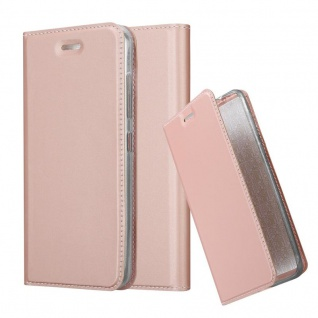 Cadorabo Hülle für HTC Desire 10 Pro in CLASSY ROSÉ GOLD - Handyhülle mit Magnetverschluss, Standfunktion und Kartenfach - Case Cover Schutzhülle Etui Tasche Book Klapp Style