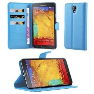 Cadorabo Hülle für Samsung Galaxy NOTE 3 NEO in PASTEL BLAU - Handyhülle mit Magnetverschluss, Standfunktion und Kartenfach - Case Cover Schutzhülle Etui Tasche Book Klapp Style