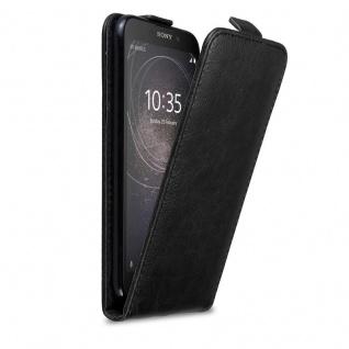 Cadorabo Hülle für Sony Xperia XA2 in NACHT SCHWARZ - Handyhülle im Flip Design mit Magnetverschluss - Case Cover Schutzhülle Etui Tasche Book Klapp Style