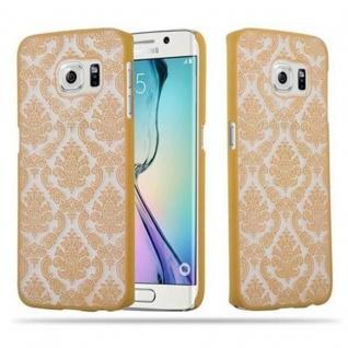 Samsung Galaxy S6 EDGE Hardcase Hülle in GOLD von Cadorabo - Blumen Paisley Henna Design Schutzhülle ? Handyhülle Bumper Back Case Cover