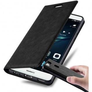 Cadorabo Hülle für Huawei P9 in NACHT SCHWARZ - Handyhülle mit Magnetverschluss, Standfunktion und Kartenfach - Case Cover Schutzhülle Etui Tasche Book Klapp Style