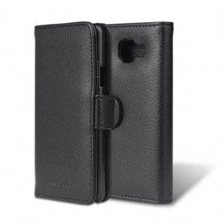Cadorabo Hülle für Samsung Galaxy A3 2016 in OXID SCHWARZ - Handyhülle mit Magnetverschluss und 3 Kartenfächern - Case Cover Schutzhülle Etui Tasche Book Klapp Style