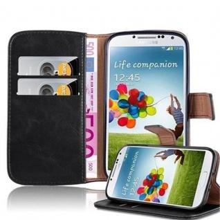 Cadorabo Hülle für Samsung Galaxy S4 in GRAPHIT SCHWARZ Handyhülle mit Magnetverschluss, Standfunktion und Kartenfach Case Cover Schutzhülle Etui Tasche Book Klapp Style