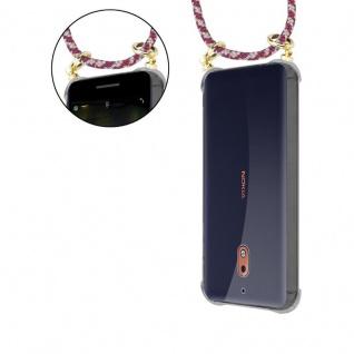 Cadorabo Handy Kette für Nokia 2.1 2018 in ROT GELB WEISS - Silikon Necklace Umhänge Hülle mit Gold Ringen, Kordel Band Schnur und abnehmbarem Etui ? Schutzhülle - Vorschau 5