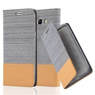 Cadorabo Hülle für Samsung Galaxy J7 2016 in HELL GRAU BRAUN - Handyhülle mit Magnetverschluss, Standfunktion und Kartenfach - Case Cover Schutzhülle Etui Tasche Book Klapp Style