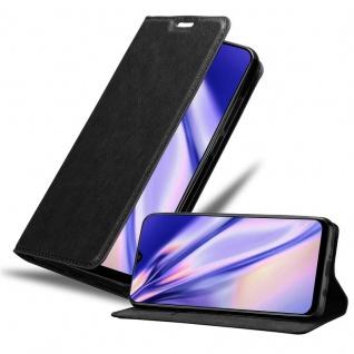 Cadorabo Hülle für Samsung Galaxy A30S in NACHT SCHWARZ Handyhülle mit Magnetverschluss, Standfunktion und Kartenfach Case Cover Schutzhülle Etui Tasche Book Klapp Style